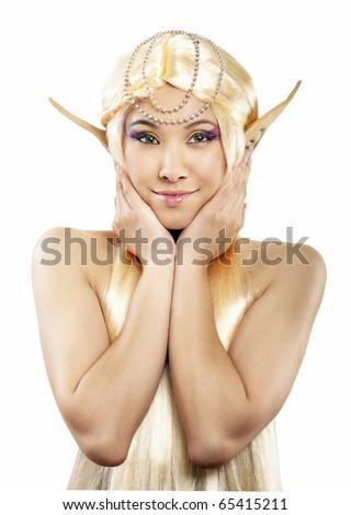 Beautiful elf girl. Isolated on white. - stock photo