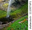 Beautiful Elowah Falls in Lush rain forest of Columbia River Gorge area of Oregon - stock photo