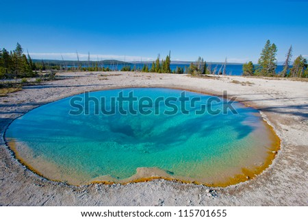 Beautiful Emerald Pool of Yellowstone National Park, USA - stock photo