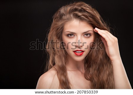 Beautiful emotional woman with professional make up