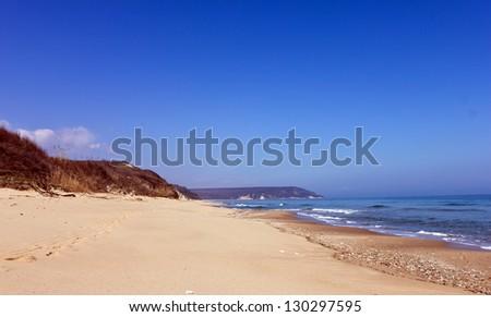 Beautiful empty beach in Bulgaria - stock photo