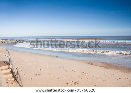 Beautiful empty beach, Southwold Suffolk England - stock photo