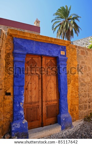 Beautiful entrance to house in old town of Rhodes