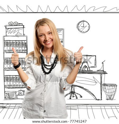 beautiful european young businesswoman shows well done - stock photo