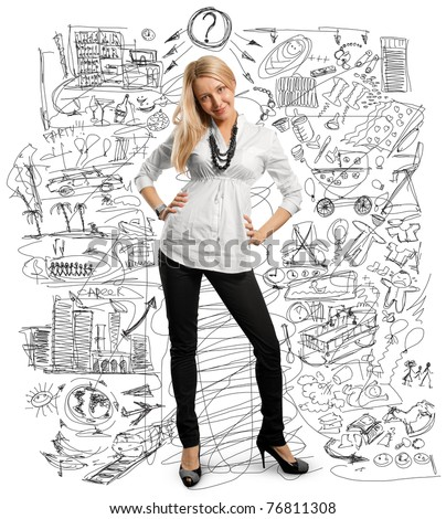 Beautiful European young businesswoman, try to choose between a family and career - stock photo