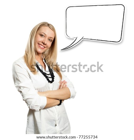 Beautiful European young businesswoman with crossed hands standing against different backgrounds - stock photo