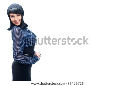 Beautiful European young french style woman standing with hands folded against white background