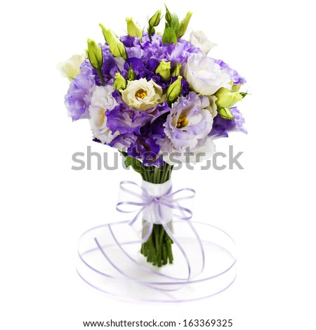Beautiful eustoma flowers  bouquet (wedding or romantic date concept ) - stock photo