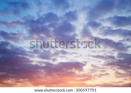 Beautiful evening cloudy sky - stock photo