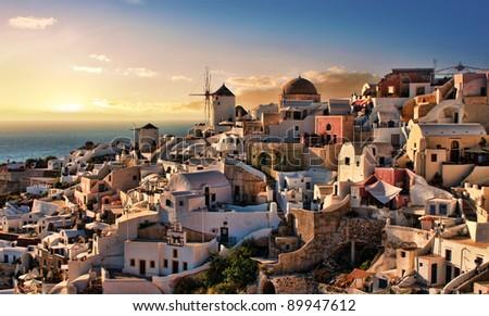 Beautiful evening dusk in Oia village Santorini island Greece - stock photo