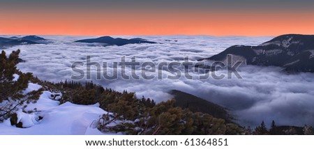 Beautiful evening landscape in the Carpathian mountains - stock photo