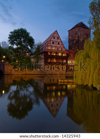 Beautiful evening landscape on the river, Nuremburg, Germany