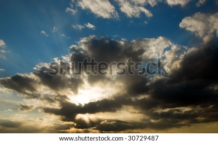 beautiful evening sky with sun and clouds