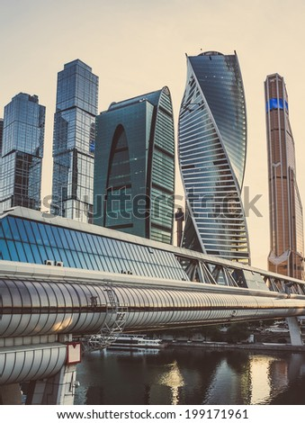 Beautiful evening view of famous skyscrapers in Moscow City international business center, Moscow, Russia. Toned picture - stock photo