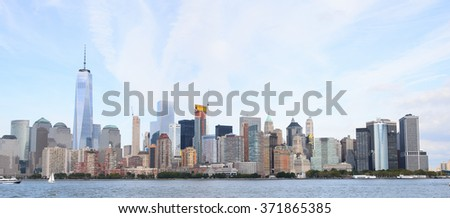 Beautiful evening view of the Lower Manhattan, New York City, United States of America - stock photo