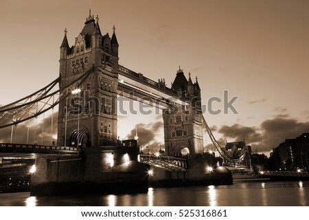 Beautiful  Evening View of Tower Bridge, London, UK