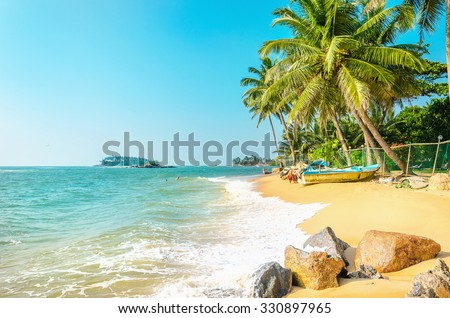 Beautiful exotic beach full of palm trees against the azure sea and blue sky  - stock photo