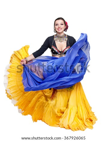 Beautiful exotic belly tribal dancer with blue shawl woman isolated - stock photo