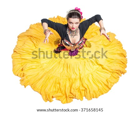 Beautiful exotic belly tribal dancer woman isolated - stock photo