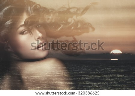 beautiful exotic tanned woman with long wavy hair in motion double exposure with sea sunset  - stock photo