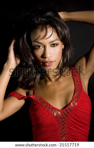 Beautiful exotic woman - dramatic lighting