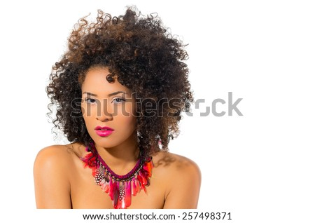 beautiful exotic young tribal woman isolated on white - stock photo