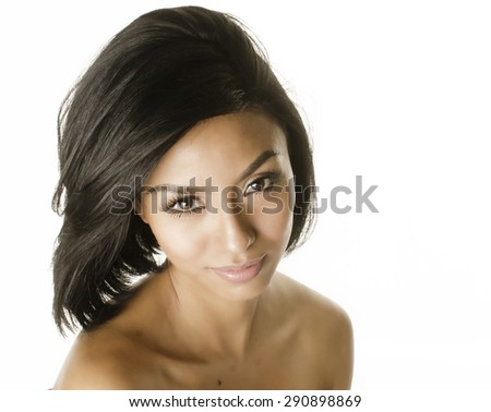 Beautiful exotic young woman - stock photo