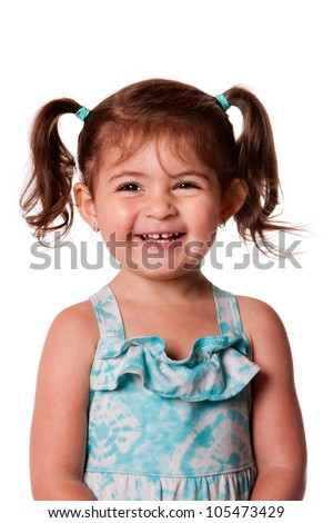 Beautiful expressive adorable happy cute laughing smiling young toddler girl with ponytails showing teeth, isolated. - stock photo