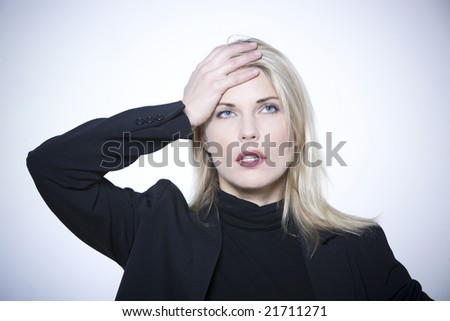 beautiful expressive woman on isolated background - stock photo