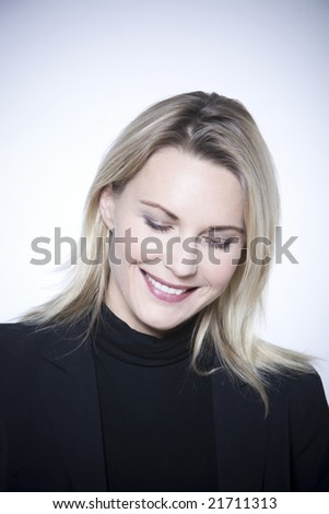 beautiful expressive woman on isolated background