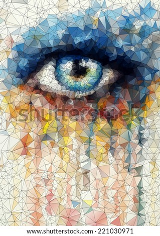 beautiful eye in geometric styling abstract geometric background  stained-glass window - stock photo
