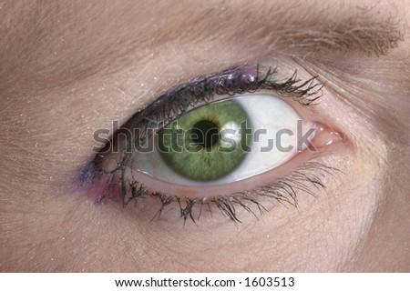 Beautiful eye looking over toward you. - stock photo