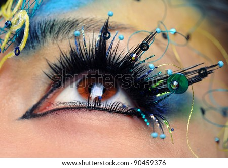 Beautiful eye make-up close-up - stock photo