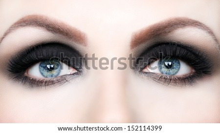 Beautiful eye makeup close up - stock photo