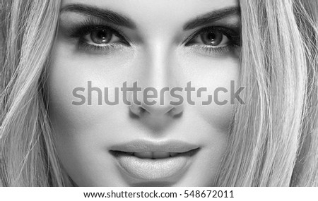 Beautiful Eyes Blonde closeup Face of Young Woman with Clean Fresh Skin close up isolated on white. Beauty Portrait. Beautiful Spa Woman Smiling. Perfect Fresh Skin. Pure Beauty Model. Black and White