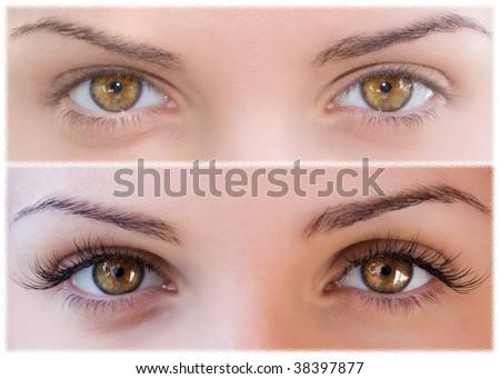 Beautiful eyes with natural eyelashes to and false eyelashes after - stock photo
