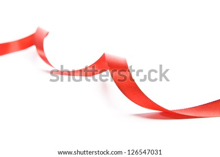 Beautiful fabric red ribbon. Isolated on a white background - stock photo