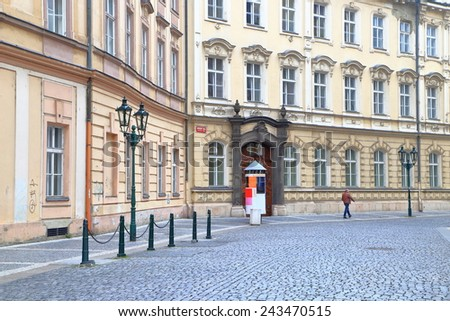 Beautiful facades of traditional buildings on the streets of Prague Old Town, Czech Republic - stock photo