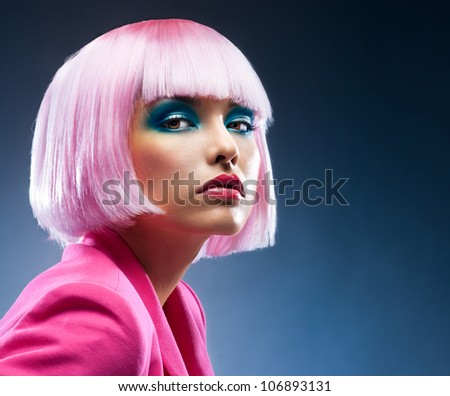 Beautiful face in the bright makeup - stock photo