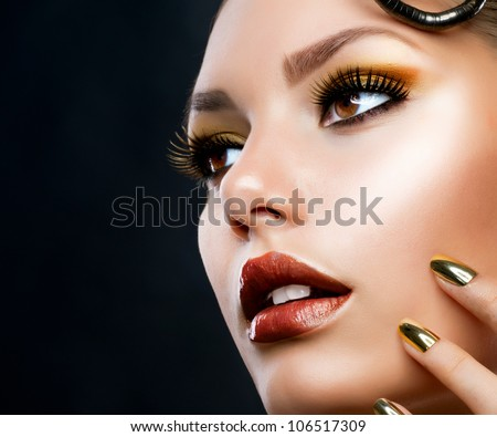 Beautiful Face Makeup close-up. Perfect Healthy Skin - stock photo