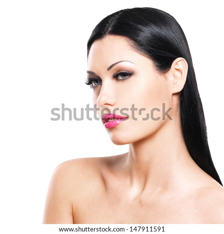 Beautiful face of caucasian woman  with pink lips isolated on white background. Closeup portrait of brunette female - stock photo