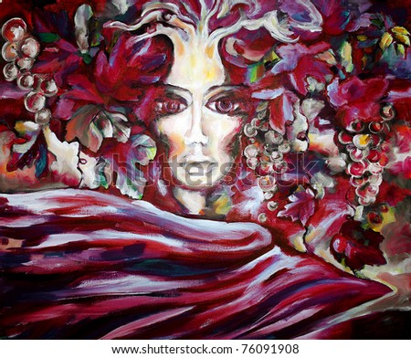 Beautiful face of the girl in grapevines and leaves against a fabric fluttering on a wind Painting a pattern drawn by oil color on a canvas