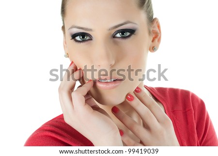 Beautiful face of the teenager girl with bright fashion make-up - stock photo