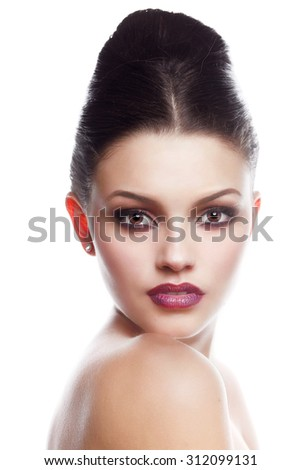 Beautiful face of young adult woman with clean fresh skin. Beauty Model Woman Face. Perfect Skin. Professional Make-up.Makeup. Fashion Art.Vogue Style. - stock photo