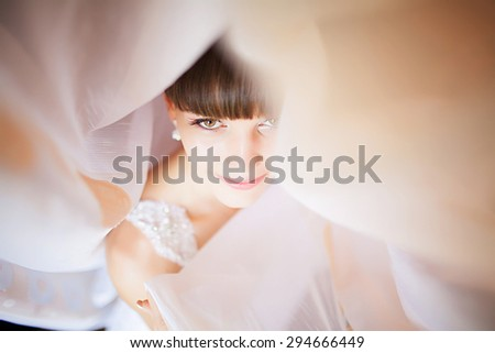 Beautiful Face of Young Blond Bride Woman. Beauty Morning Portrait.Girl Look in Window. Bridal Veil. Curtains - stock photo