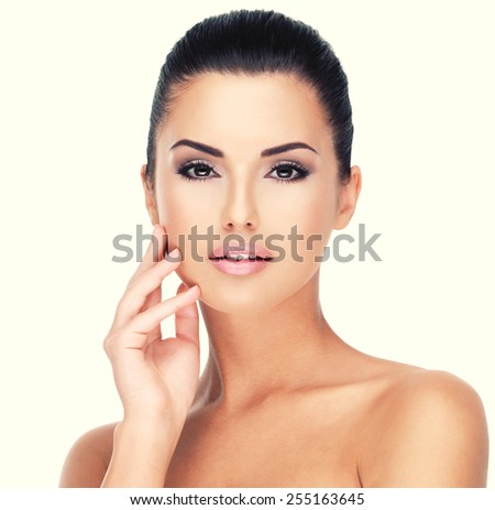 Beautiful face of young girl  with  fresh healthy skin - isolated on white - stock photo