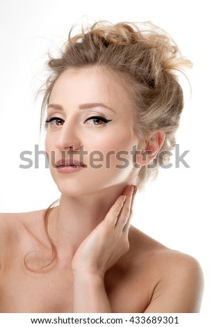 Beautiful face of young woman with perfect and fresh skin