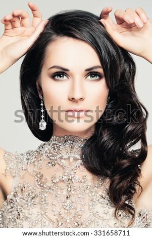 Beautiful Face. Portrait of Pretty Woman - stock photo