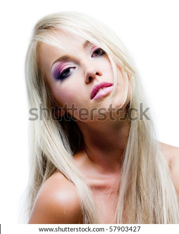 Beautiful face with vibrant colors of make-up and straight long hair - stock photo