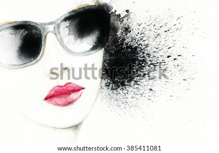 Beautiful face. woman with sunglasses. Abstract fashion watercolor illustration - stock photo